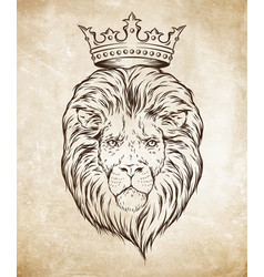 hand drawn crowned lion head over grunge paper vector image vector image