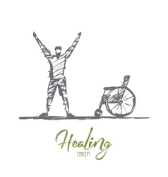 Hand drawn happy healed man near wheelchair vector