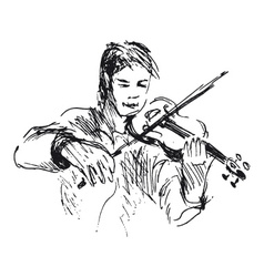 Hand sketch violinist vector
