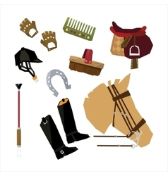 Horse Race Sport Icons Set vector image