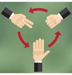 how to play rock scissors paper vector image vector image