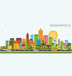 indianapolis skyline with color buildings and vector image vector image