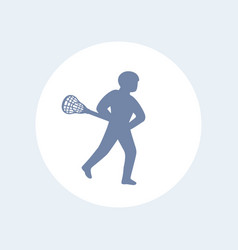 lacrosse player icon isolated over white vector image vector image