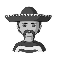 Mexicanhuman race single icon in monochrome style vector