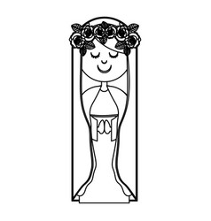 Monochrome contour of virgin with crown of roses vector