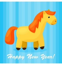 New year background with funny cartoon horse vector
