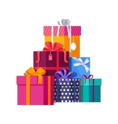 Pile of colorful wrapped gift boxes vector