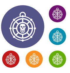 Pirate amulet icons set vector
