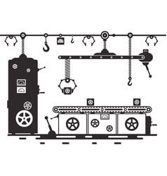 retro line of productionvintage black machine vector image
