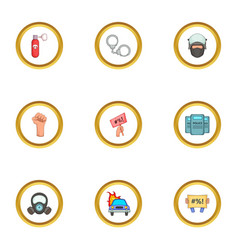 Revolution icons set cartoon style vector