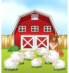 Sheep and barn vector image vector image