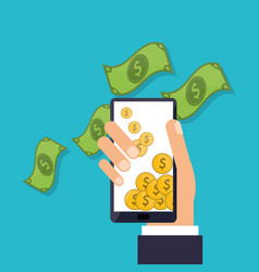 smartphone and money related icons vector image