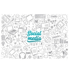 Social media doodle set with lettering vector image