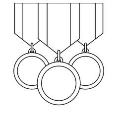 three medals awards ribbon sport honor vector image