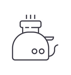 toaster line icon sign on vector image vector image