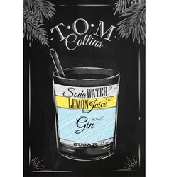 Tom Collins cocktail chalk vector image