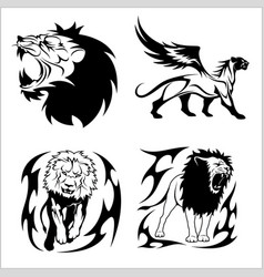 Tribal lions set of black and white vector