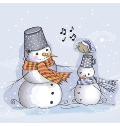Two Snowman and bird vector image