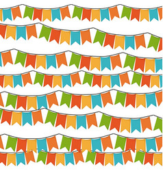 white background with set of colorful festoons in vector image