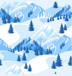 winter seamless pattern beautiful landscape with vector image vector image