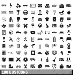 100 bus icons set simple style vector
