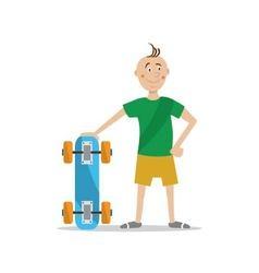 boy holding a skateboard vector image