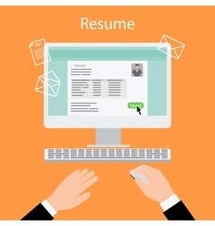 Writing a resume on computer vector image
