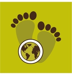 Map earth environment ecological green footprints vector