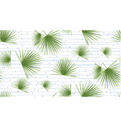 Tropical fan palm leaves jungle green leaf vector
