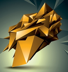 3d contemporary style abstract object golden vector