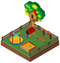 3d design for playground with treehouse vector