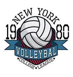 Volleyball college league new yorkt-shirt vector