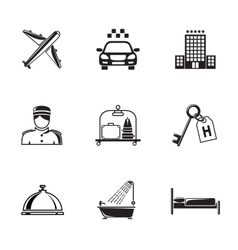 Hotel and service monochrome black icons set with vector