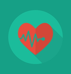 Medical flat icon heartbeat vector