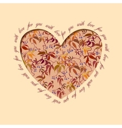 Autumn grapevine heart design floral love card vector