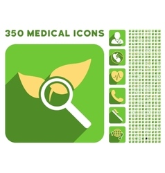 Explore natural drugs icon and medical longshadow vector