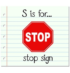 Flashcard letter s is for stop sign vector