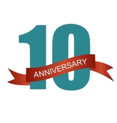 Ten 10 years anniversary label sign for your date vector