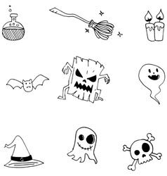 Cute halloween doodle for kids vector image