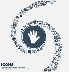 Hand icon in the center around the many beautiful vector