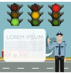 Traffic light signals banner vector