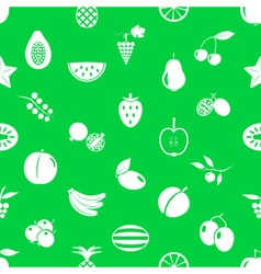 Fruit theme icons set green and white seamless vector