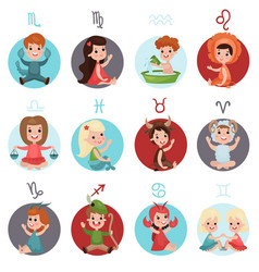 adorable little kids wearing zodiac signs costumes vector image