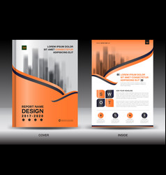 Annual report brochure flyer templateorange cover vector
