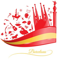 Barcelona background with flag and symbol set vector