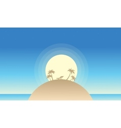 Beautiful island landscape of silhouette vector image