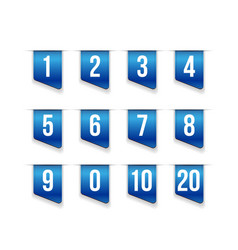 Blue ribbons with number set vector image vector image