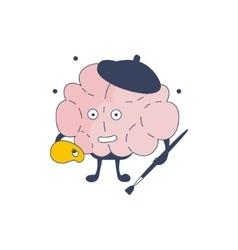 Brain artist comic character representing vector