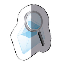 Color magnifying glass with letter icon vector