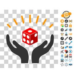 Dice prosperity hands icon with bonus vector